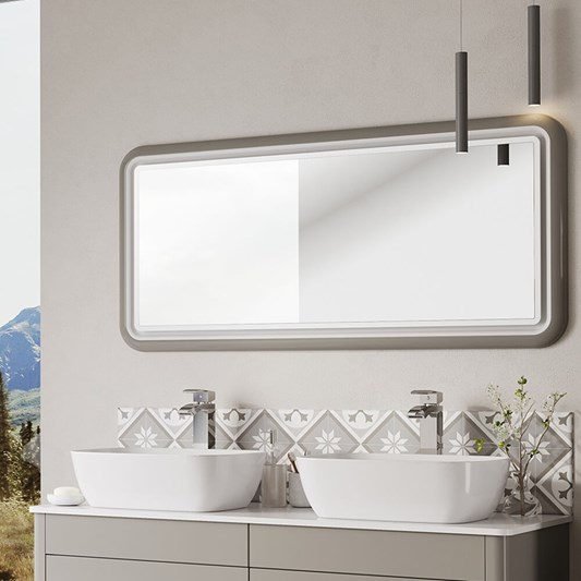 Harbour Serenity LED Illuminated French Grey Mirror - H650 x W1180mm