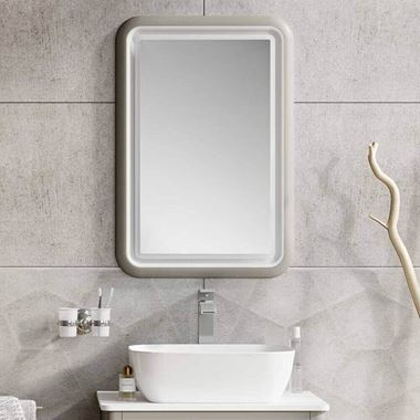 Harbour Serenity LED Illuminated French Grey Mirror - H800 x W550mm