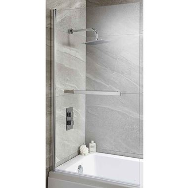 Harbour i6 Easy Clean 6mm Square Bath Screen & Towel Rail - 1400 x 800mm
