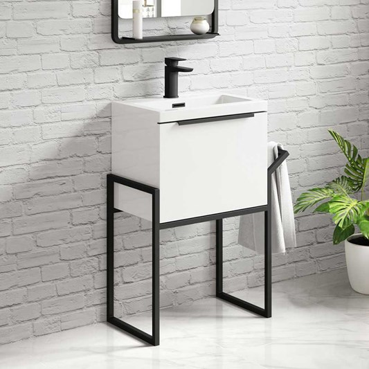 Harbour Status 500mm Wall Hung Vanity Unit & Basin - Gloss White with Matt Black Frame