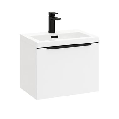Harbour Status 500mm Wall Hung Vanity Unit & Basin - Gloss White with Matt Black Handle