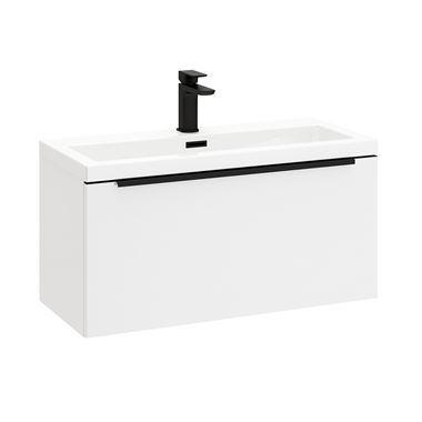 Harbour Status 800mm Wall Hung Vanity Unit & Basin - Gloss White with Matt Black Handle