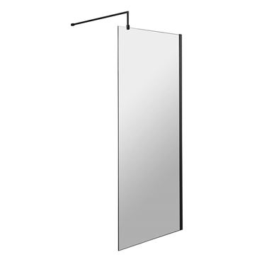 Harbour Status 8mm Matt Black Easy Clean Walk In Shower Panel - 700mm