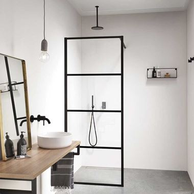 Harbour Status Matt Black Framed Easy Clean 8mm Walk In Single Shower Panel