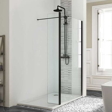 Harbour Status Matt Black Framed Easy Clean 8mm Walk In Shower Panel & Flipper Panel