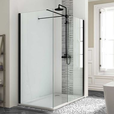 Harbour Status Matt Black Framed Easy Clean 8mm Walk In Shower Enclosure