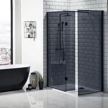 Harbour Status Matt Black Framed Easy Clean 8mm Black Glass Walk In Shower, Flipper Panel & Optional Side Panel