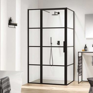 Harbour Status Matt Black Framed Easy Clean 8mm Shower Door with Inline Panel & Optional Side Panel
