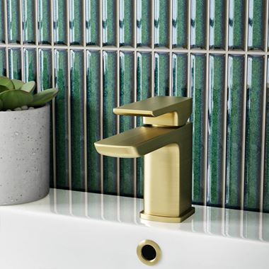 Harbour Status Brushed Brass Mini Cloakroom Basin Mixer Tap & Waste