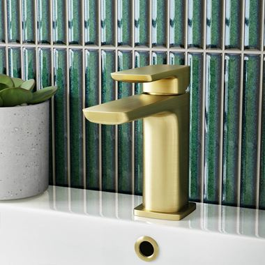 Harbour Status Brushed Brass Mono Basin Mixer Tap & Waste
