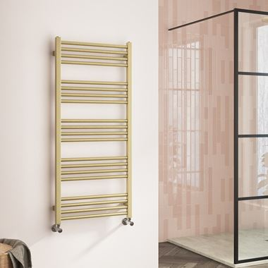 Harbour Status Flat Heated Towel Rail - Painted Brushed Brass - 1140 x 500mm