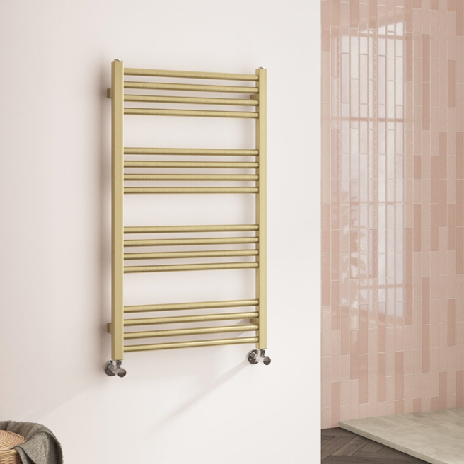 Harbour Status Flat Heated Towel Rail - Painted Brushed Brass - 900 x 500mm