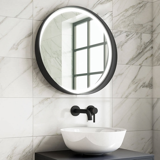 Harbour Status Led Illuminated Black Frame Round Mirror With Demister Pad Colour Change Leds 600mm Drench