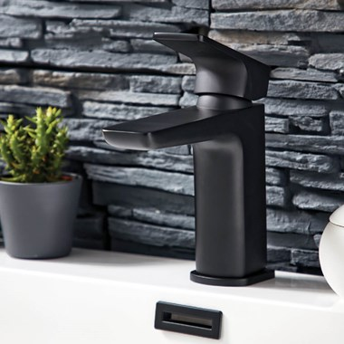 Harbour Status Matt Black Basin Mixer Tap
