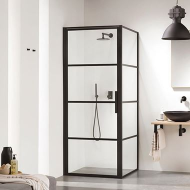 Harbour Status Matt Black Framed Easy Clean 8mm Shower Door & Optional Side Panel
