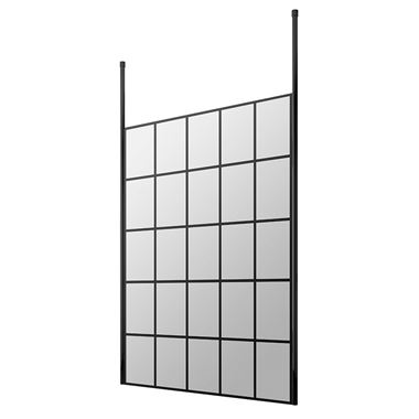 Harbour Status 8mm Easy Clean Matt Black Framed Freestanding Walk In Panel & Ceiling Posts