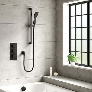 Harbour Status Matt Black Concealed Shower Valve, Shower Rail Kit & Overflow Bath Filler