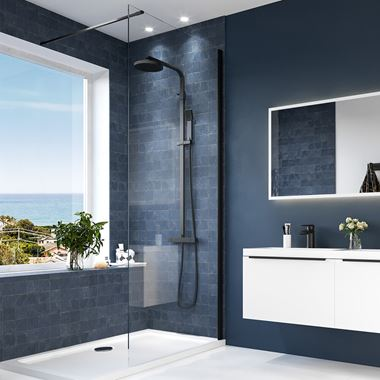 Harbour Status Matt Black Easy Clean 8mm Walk In Shower Panel