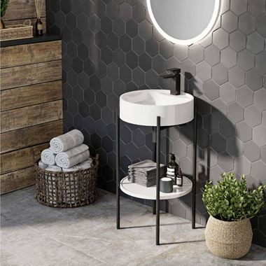 Harbour Status Matt Black Framed Round Cloakroom Basin