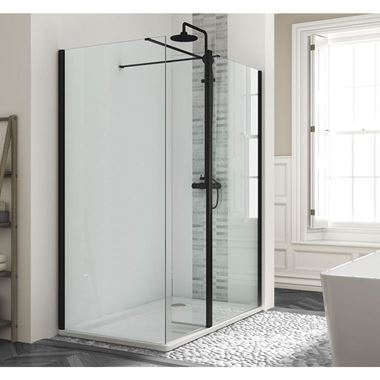 Harbour Status Matt Black Framed Easy Clean 8mm Walk In Shower Enclosure & Flipper Panel