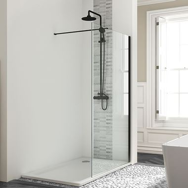Harbour Status Matt Black Framed Easy Clean 8mm Walk In Shower Panel