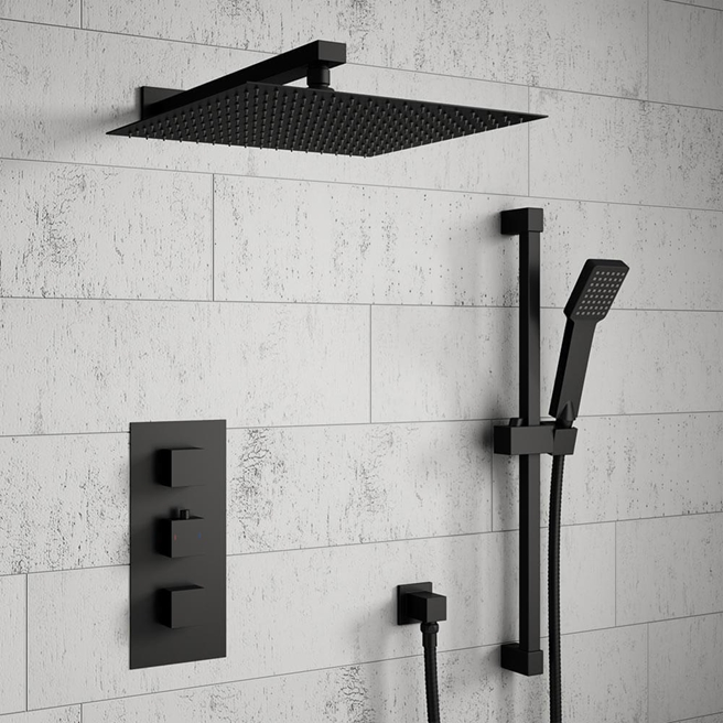 Harbour Status Concealed Shower Valve, Fixed Wall Mounted Head & Slide Rail Kit