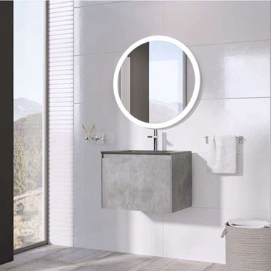 Harbour Substance 600mm 1 Drawer Wall Mounted Vanity Unit & Black Basin - Concrete Effect
