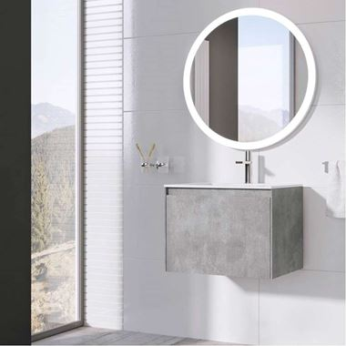 Harbour Substance 600mm 1 Drawer Wall Mounted Vanity Unit & White Basin - Concrete Effect
