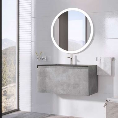 Harbour Substance 900mm 1 Drawer Wall Mounted Vanity Unit & Black Basin - Concrete Effect
