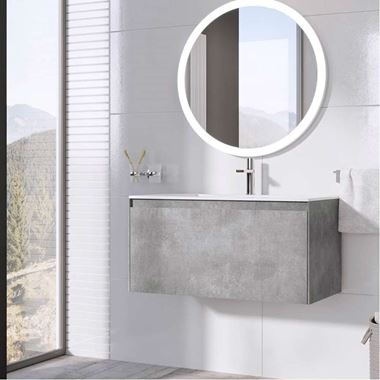 Harbour Substance 900mm 1 Drawer Wall Mounted Vanity Unit & White Basin - Concrete Effect