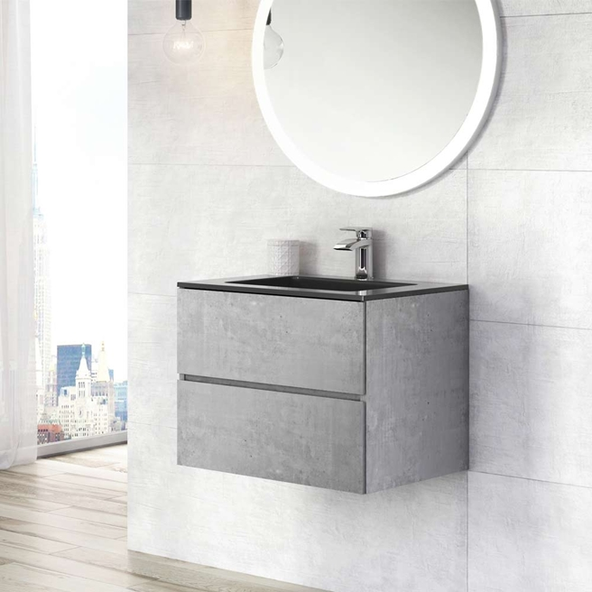 Harbour Substance 600mm 2 Drawer Wall Mounted Vanity Unit & Black Basin - Concrete Effect