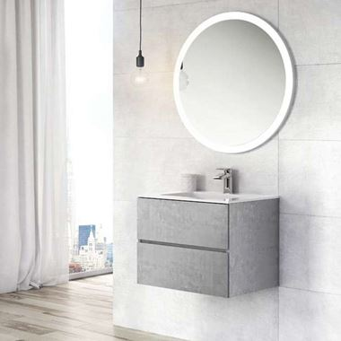 Harbour Substance 600mm 2 Drawer Wall Mounted Vanity Unit & White Basin - Concrete Effect