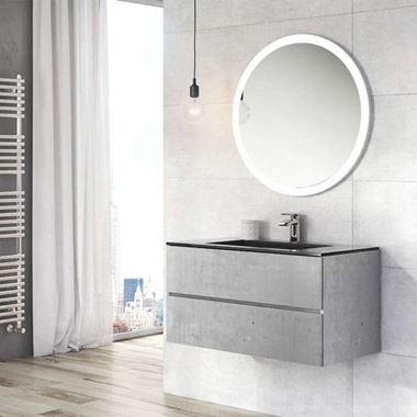 Harbour Substance 900mm 2 Drawer Wall Mounted Vanity Unit & Black Basin - Concrete Effect