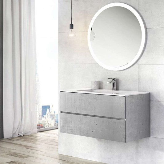 Harbour Substance 900mm 2 Drawer Wall Mounted Vanity Unit & White Basin - Concrete Effect