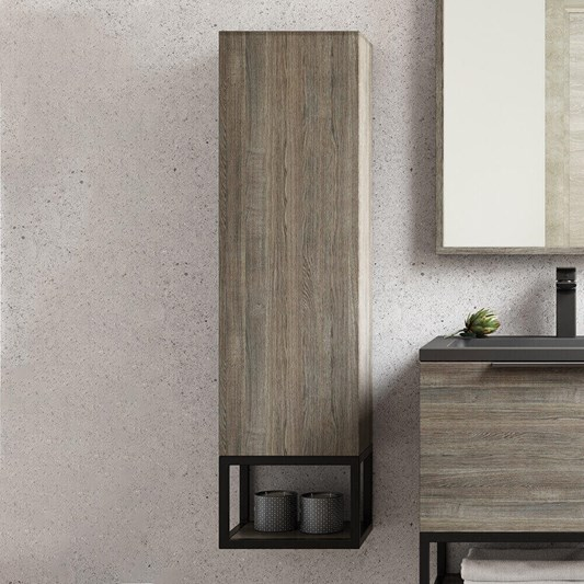 Harbour Virtue 1100mm Wall Mounted Tall Storage Cabinet with Matt Black Framed Shelf - Grey Oak