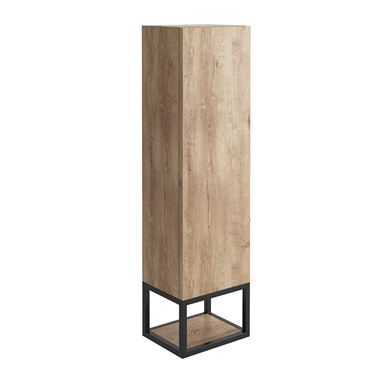 Harbour Virtue 1100mm Wall Mounted Tall Storage Cabinet with Matt Black Framed Shelf - Rustic Oak