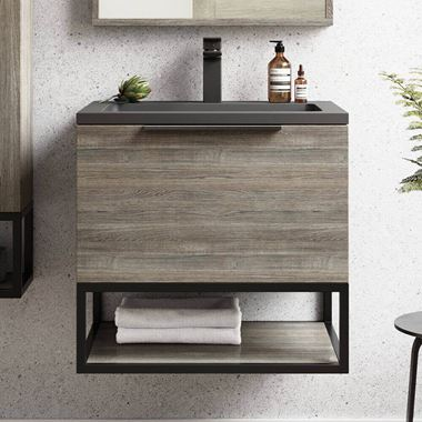 Harbour Virtue 600mm Wall Hung Vanity Unit with LED Illumination, Black Framed Shelf & White or Grey Basin - Grey Oak & Matt Black Handle