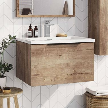 Harbour Virtue 600mm Wall Hung Vanity Unit with LED Illumination & White or Grey Basin - Rustic Oak & Matt Black Handle