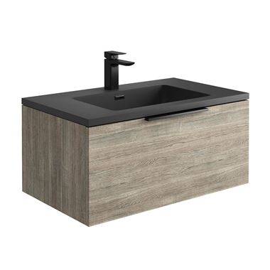 Harbour Virtue 800mm Wall Hung Vanity Unit with LED Illumination & White or Grey Basin - Grey Oak & Matt Black Handle