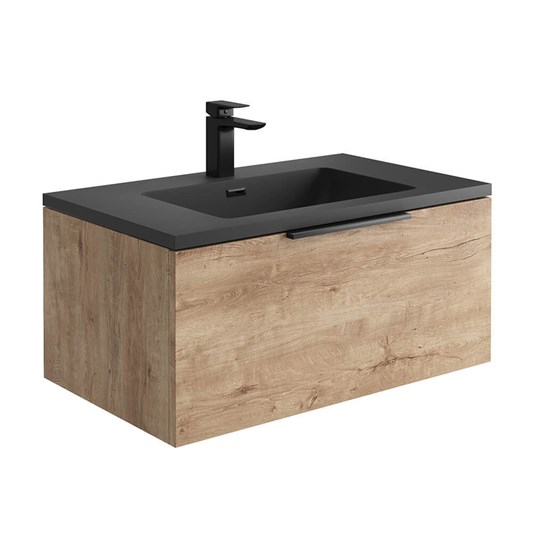 Harbour Virtue 800mm Wall Hung Vanity Unit with LED Illumination & White or Grey Basin - Rustic Oak & Matt Black Handle
