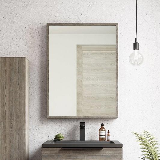 Harbour Virtue Mirror With Grey Oak, Oak Framed Bathroom Mirrors