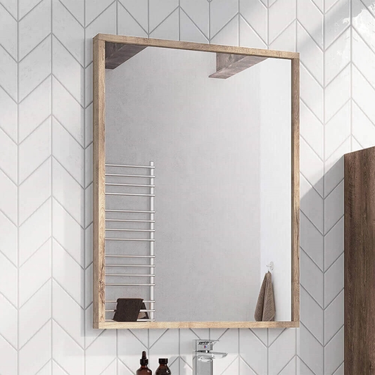 Harbour Virtue Mirror With Rustic Oak, Oak Framed Bathroom Mirror With Shelf