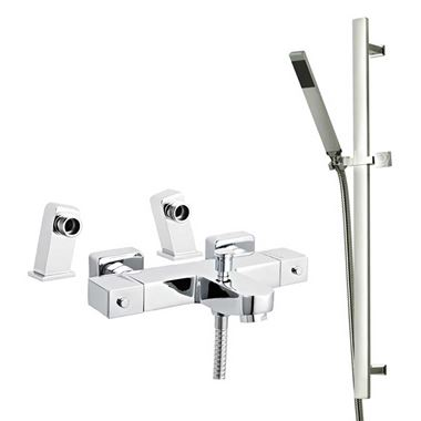 Harrison Deck Mounted Thermostatic Bath Shower Mixer & Slide Rail Kit