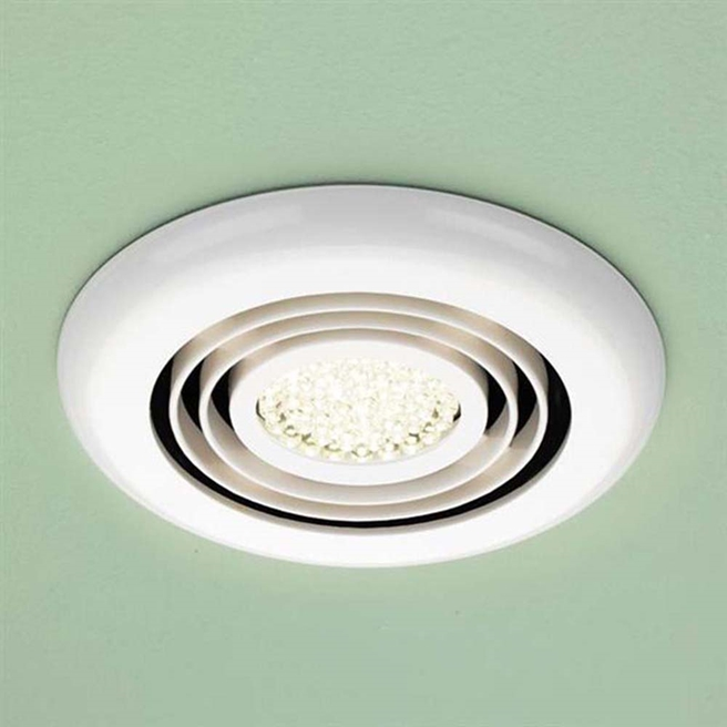 HiB Turbo Warm White LED Illuminated Inline White Ceiling Fan