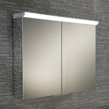 HiB Ember LED Illuminated Mirrored Cabinet with Shaver Socket - 800 x 700mm
