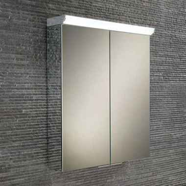 HiB Flare LED Illuminated Mirrored Cabinet with Shaver Socket - 600 x 700mm