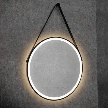 HiB Solstice 60 Illuminated LED Matt Black Round Mirror with Demister Pad - 600mm