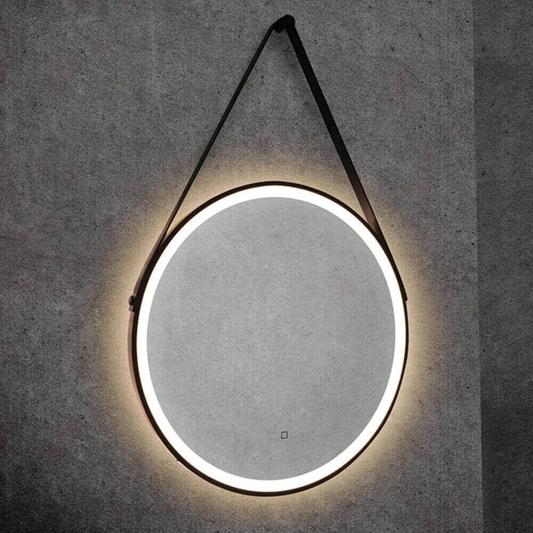 Hib Solstice 60 Illuminated Led Matt Black Round Mirror With Demister Pad 600mm Drench