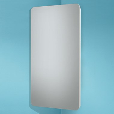 HiB Turin Corner Gloss White Mirror Cabinet - 300 x 600mm
