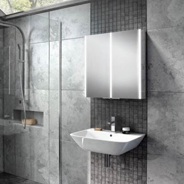 HiB Xenon 60 LED Illuminated Mirror Cabinet with Mirrored Sides - 605 x 700mm